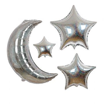 Giant Silver Moon & Stars Balloon Kit